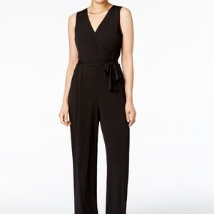 NY COLLECTION Petite Surplice Belted Wide-Leg Jump